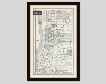 Memphis Tennessee Map, City Map, Street Map, 1950s, Black and White, Retro Map Decor, City Street Grid, Historic Map