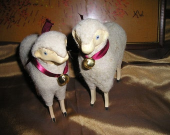 "Festive Pr. Sheep Sweet Wooly/stick legged Sheep/ Lambs w/Bells Spiritual Easter Home Decor.5""x6"""