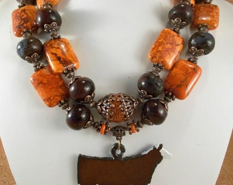 Cowgirl Western Necklace Set - Chunky Orange and Brown Howlite - Hereford Show Heifer Pendant