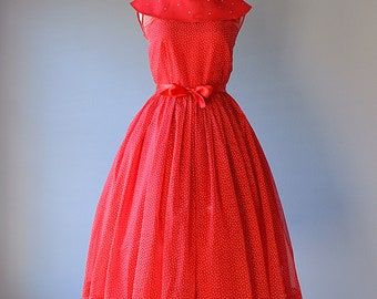 1950s Party Dress...TEEN COLONY Red and White Organza Polka Dot Party Dress Prom Dress