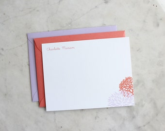 personalized little girl / baby girl / woman's notecards / stationery / thank you cards - mums (coral and lavender)