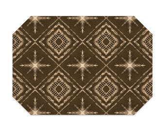 Shibori style placemat, brown placemat, star pattern, cloth placemat, washable polyester fabric placemat, table linens