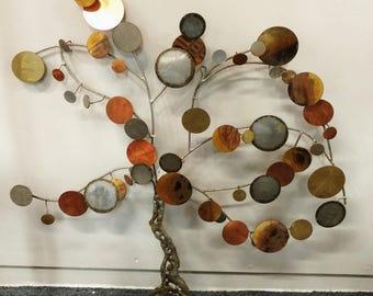 MCM Brutalist Tree Sculpture / Brass Wall Art