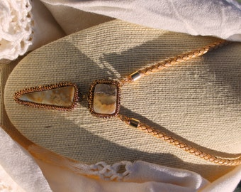 Double Agate Cab Beaded Necklace with Blond Braided Leather