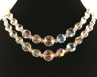 Aurora Borealis Double Strand Necklace, Vintage Jewelry, Vintage Choker Necklace, Wedding Necklace, Aurora Borealis Choker Glass Bead Choker