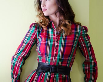 Vintage 1960's Plaid Anne Fogarty Midi Dress