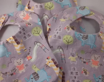 Set of Three Small Baby or Preemie Bibs Unisex Reversible Grey with Animals