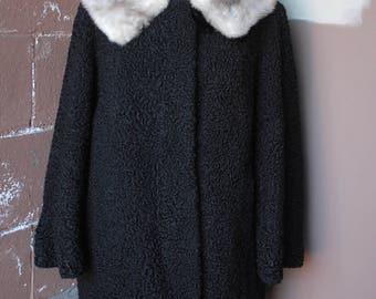 Vintage 1960's Coat // 50s Black Persian Lamb Wool Coat with Silver Grey Fur Collar Collar // Winter Dress Coat
