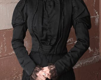 Antique Victorian Bodice Jacket // 1890s Black Boned Corset Blouse with Fine Lace Cuffs and Jet Bead Trim // Puff Sleeves // Mourning