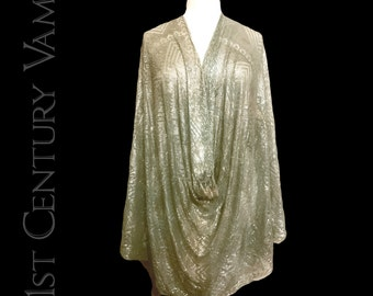 1920s ASSUIT shawl in Eau de Nil and Silver. Tulle Bi Telli. Tribal Fusion Bellydance. Egyptian Revival. Egyptomania. Art Deco. Jazz Age.
