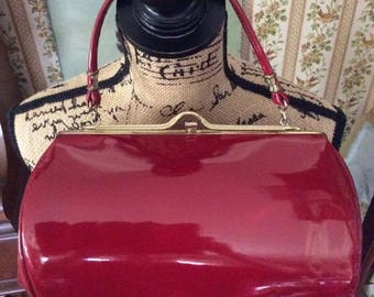 Vintage 1950s 1960s Handbag Purse Deep Blood Red Shiny Patent/Vinyl Made By Spilene