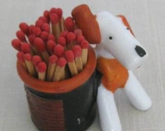 Vintage Deco Stylized Dog Ceramic Toothpick Holder Made in Japan