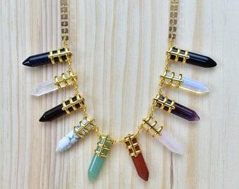 Warrior/// Multi Gemstone Gold Statement Point Necklace/ Gem Mineral Crystal Quartz Aventurine Amethyst Goldstone/ Point Spike (EP-NCC10-MT)
