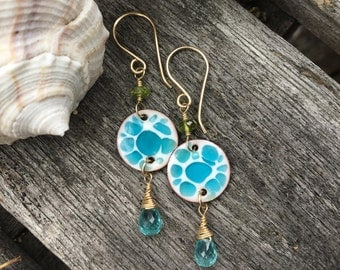 Hand Made Enamel Earrings,  Apatite, Green Tourmaline, Gold Filled