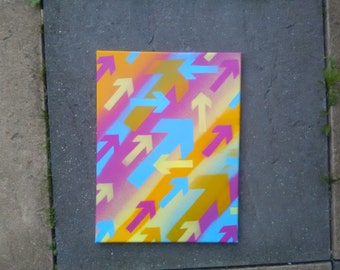 Arrows painting,rectangle canvas,spray paints,graffiti art,urban art, graphics,stencil art,pop art,home,living,yellow,pink,blue, spray can