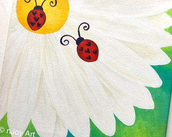 Custom Art - LOVE BUG on a FLOWER - 12 x12 inch acrylic painting