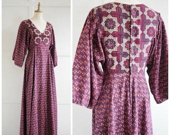 Vintage 1970s Indian block print Ayesha Davar boho dress