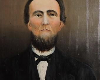 Antique PRIMITIVE Victorian Folk Art MALE Man Oil Portrait Painting on Wood c1880s