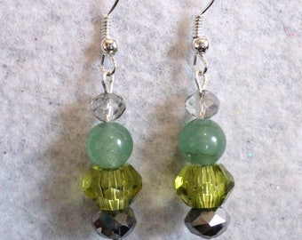 Dangle Earrings, Traditional Earrings, Gemstone Earrings, Jade Earrings, Green and Gray, Prom Earrings - FOREST MIST