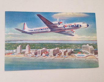 Eastern Airlines Postcard 1957 Vintage Golden Falcon DC 7B Airplane Post Card DC7B
