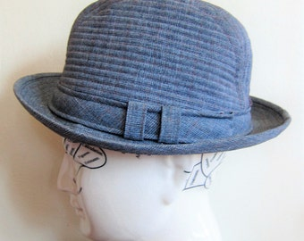 vintage 1960s Blue Grey Fedora Hat / 60s Trav'ler Country Gentleman Hat