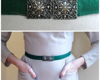 Vintage 1920s Art Deco Belt with Pressed Tin Buckle / 20s Green Cloth and Metal Skinny Belt / Small