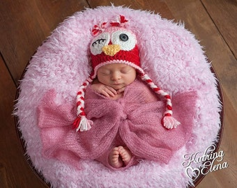 Crochet Owl Newborn Hat/ Red and Pink Owl Hat/ Flirty Owl Hat/ Newborn Crochet Owl Hat/ Valentines Day Owl Hat/ Newborn Owl Hat