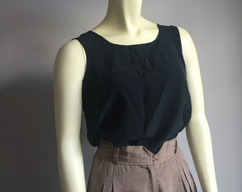 black silk 90s vintage sleeveless vintage 1990s women blouse top classy chic minimalist cottage chic small S medium M scoop neck back