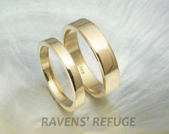 simple flat wedding bands in 14k yellow gold, white gold or rose gold