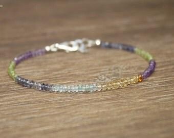 Multi Stone Bracelet, Multi Gemstone Jewelry, Amethyst, Aquamarine, Citrine, Peridot, Minimalist,