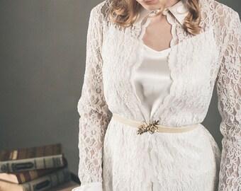 Wedding sash - Velvet bridal sash - Gold bridal sash - Wedding dress belt - Cream belt