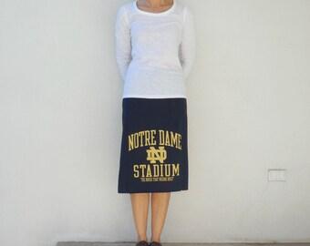 Notre Dame TShirt Skirt Fighting Irish Skirt Womens Tee Skirt Cotton Skirt Handmade Skirt Ecofriendly Clothing Spring Skirt ohzie