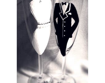 Hand Painted Champagne Glasses