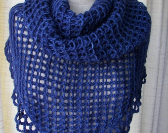 Dreamy Night : Hand Knit Shawl Triangle Scarf in Soft Mohair Wool variegated / USA