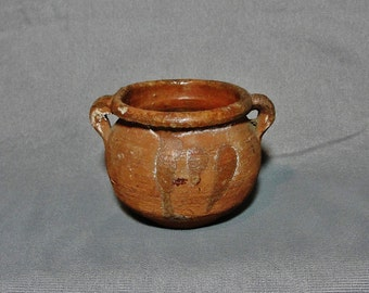 Small Antique Redware Two Handled Pot w/Interior Glaze, 19th Century