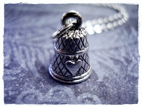 Silver Thimble Necklace - Silver Pewter Thimble Charm on a Delicate Silver Plated Cable Chain or Charm Only