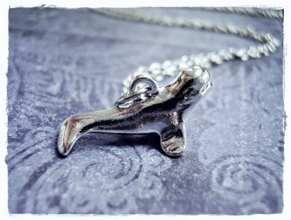 Silver Beluga Whale Necklace - Silver Pewter Beluga Whale Charm on a Delicate Silver Plated Cable Chain or Charm Only