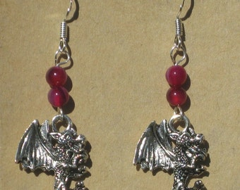 Dragon Earrings with Agate Beads