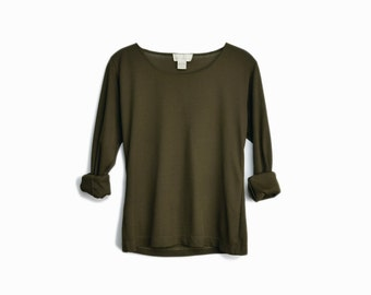 Vintage 90s Moss Green Ribbed Long Sleeve Top - women's small