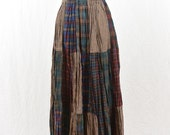 Vintage Flannel Broomstick Skirt, Maxi Skirt, Grunge, 90's Clothing, Mori Girl, Woodland Fairy, Witch, Patched Skirt, Tumblr Clothing, NOS