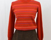 Vintage Striped Cropped Sweater, Size XXS-XS, Tiny Fit, Christmas Sweater, Holiday Sweater, 70's-80's Clothing, Hipster, Red Sweater