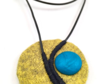 Modern Yellow Wool Heather Felt Blue Polymer Clay Embroidered Leather Cord Necklace