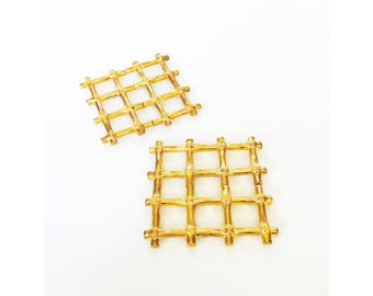Vintage Golden Bamboo Trivets / Set of 2