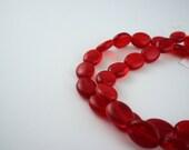 9x12mm Transparent Ruby Red Tschechische Blätterteig ovale Glasperlen - 14-Zoll-Strang - 34 Stück