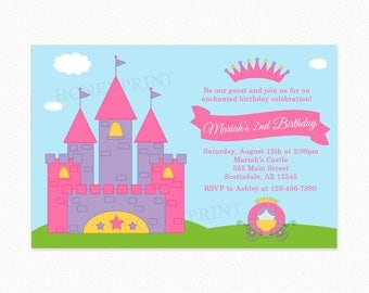 Princess Castle Carriage Birthday Party Invitation, Frog, Pink, Purple, Crown, Photo Personalized, Printable or Printed