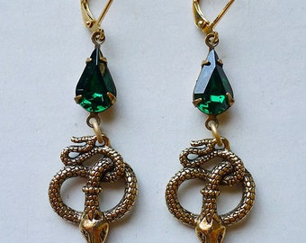 Emerald Serpents // Gold Plated Snake Earrings with 1950s Emerald Swarovski Crystals Egyptian Revival Art Deco Flapper Bohemian Witch Gypsy