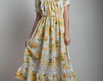 SALE vintage 70s yellow floral dress square neck lace ruffle garden tea maxi ONE SIZE S M L small medium large