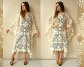 Vintage Angel Sleeve Ivory Lace Crochet Hippie Caftan Poncho Festival Folk Dress