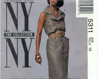 Vintage The NY Collection - Misses' Unlined Jacket and Dress In Two Lengths and Belt Sewing Pattern - McCall's 5311 - Size 14 - UNCUT
