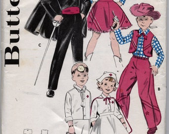 Children's Play Time Costume - Cowgirl -  Cowboy - Doctor's Outfit - Nurse's Uniform Sewing Pattern - Butterick 9094 - Size Large - 28 - 30